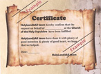 Church of the holy sepulchre - Certificate
